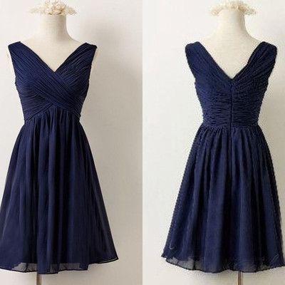 Navy Blue Chiffon Ruched Plunge V Sleeveless Short Chiffon Homecoming Dress, Bridesmaid Dress, Formal Dress