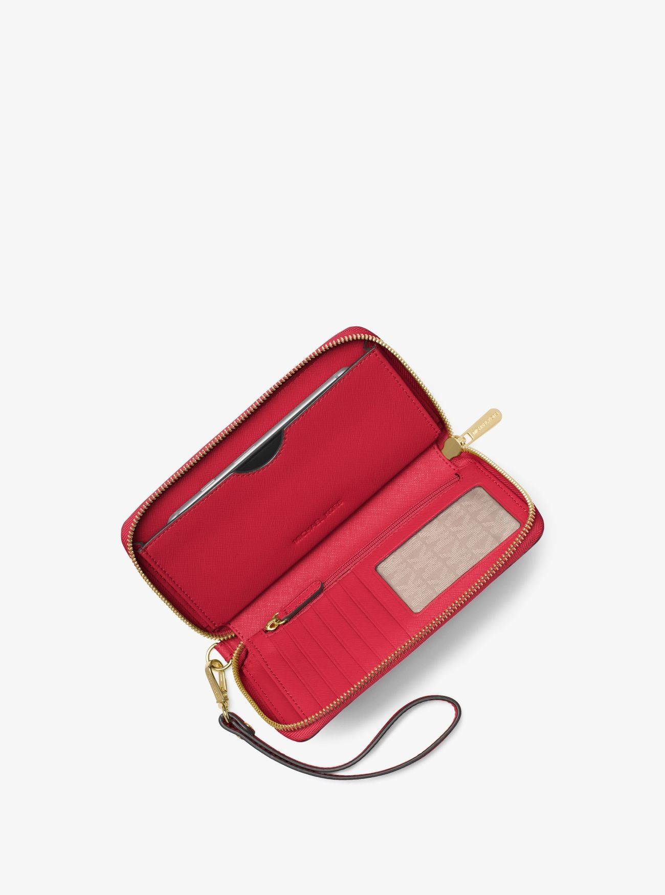 0c8d1ce8d917 Buy Michael Kors Bright Red Jet Set Travel Large Smartphone Wristlet  Discount