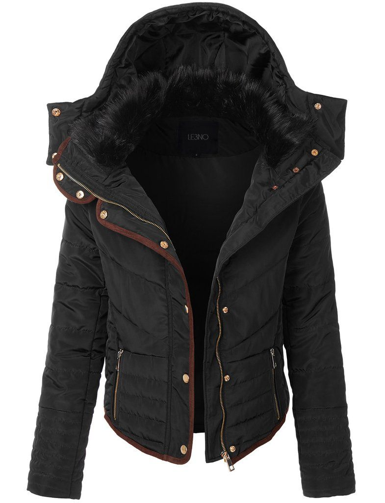 Le3no Womens Quilted Slim Fit Puffer Hoodie Jacket With Faux Fur Hoodie Jacket Puffer Jacket Women Jackets [ 1024 x 785 Pixel ]