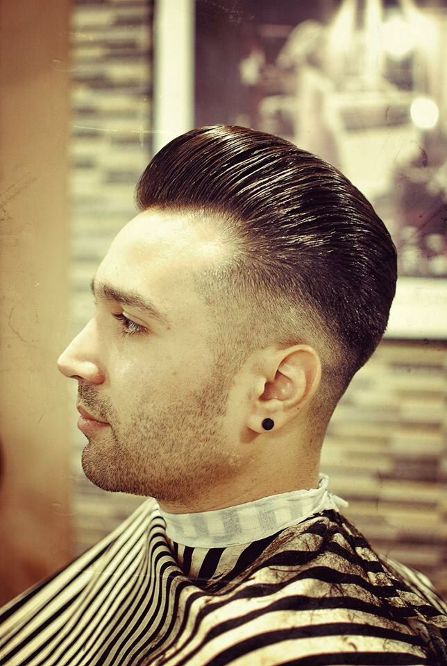 Man Haircut Pompadour Faded Sides With A Part Barbershop