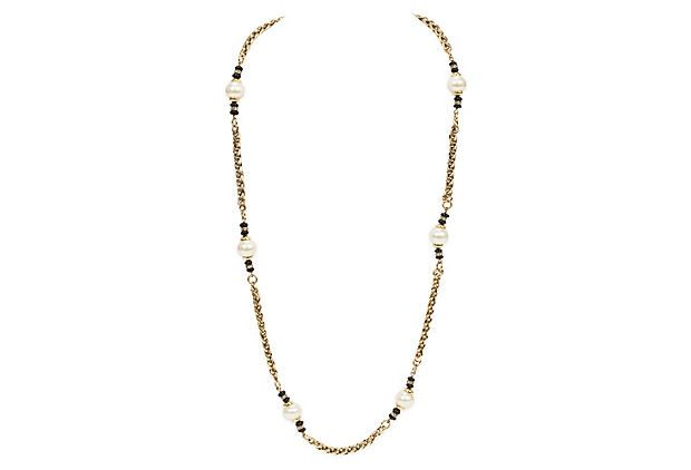 Chanel Gold Chain & Bead Necklace