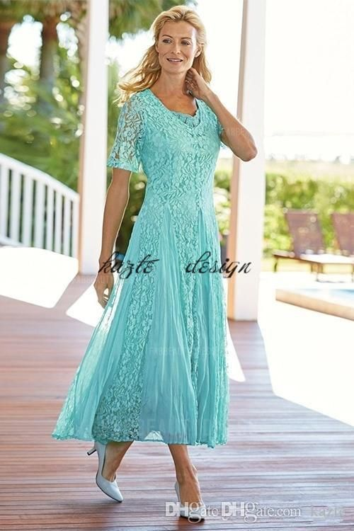 Elegant Tea Length Lace Mother Of The Bride Dresses Scoop Neck ...