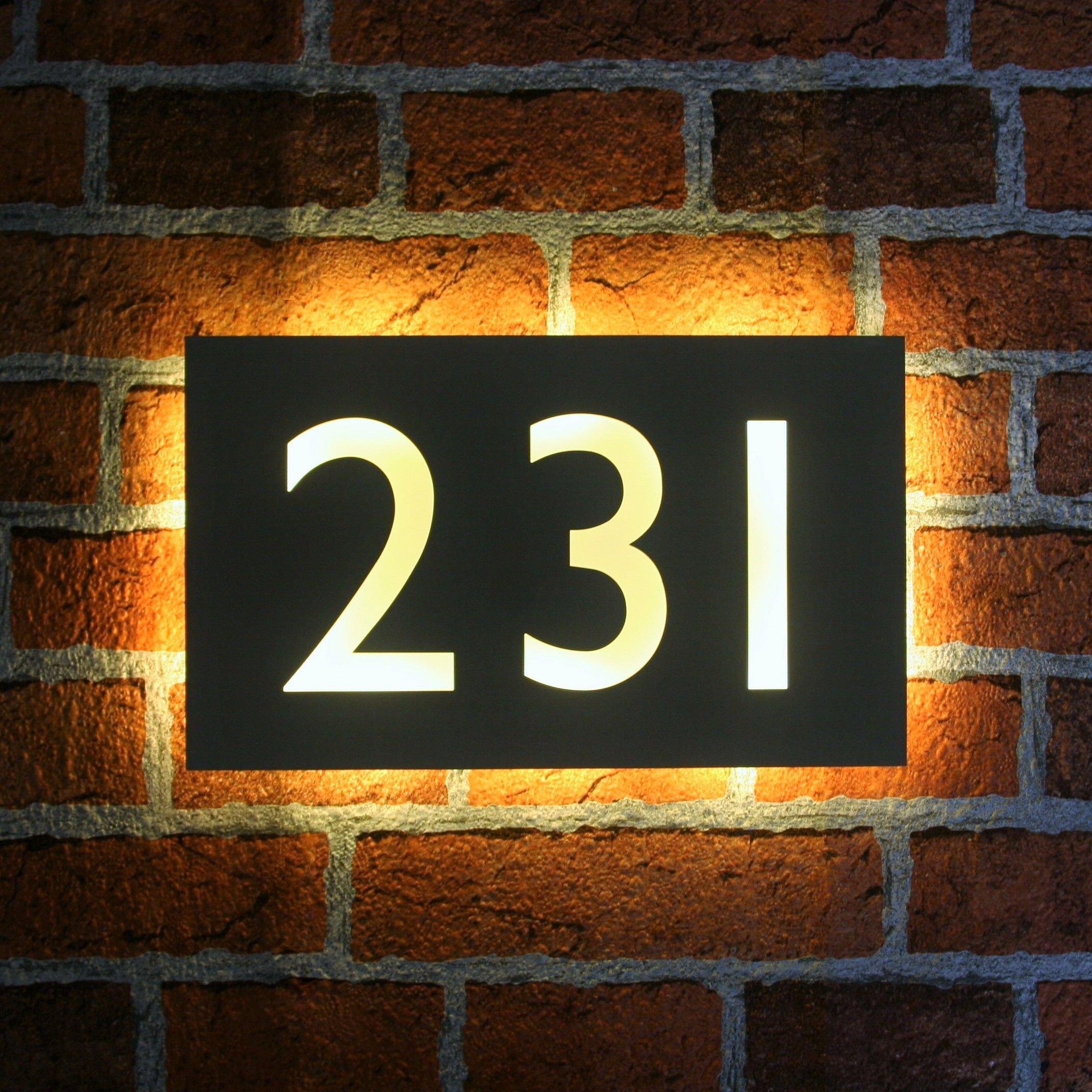 Illuminated House Number Plaque Gill Sans in 2020