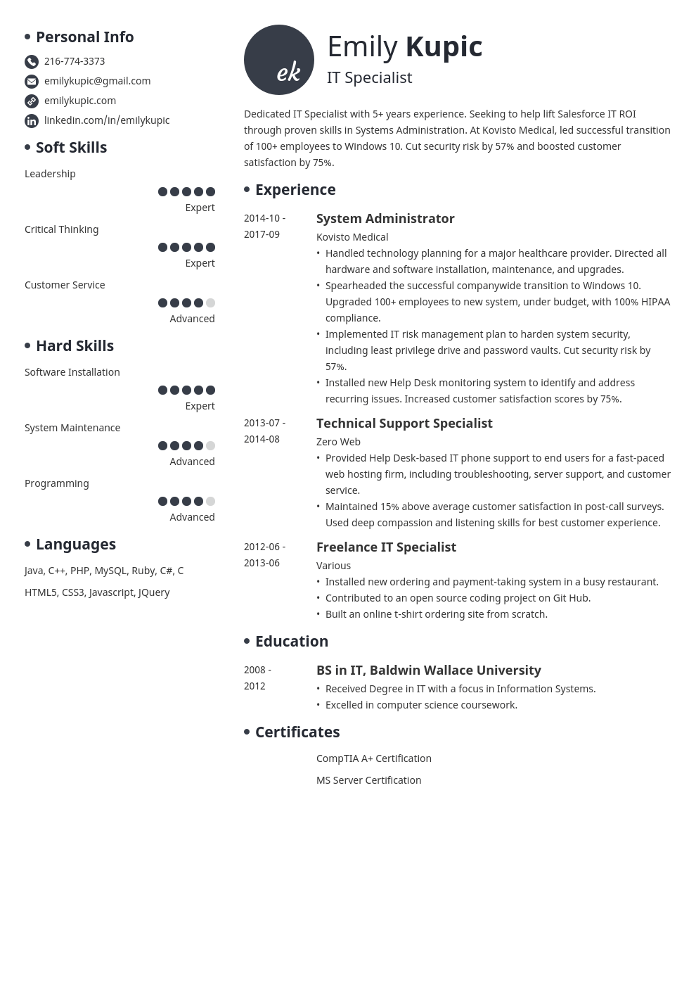 technical resume example template initials in 2020