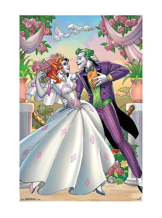 DC Comics The Joker Harley Quinn Wedding Poster