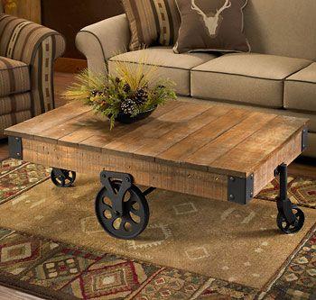 Pin En Furniture Rustic coffee table with wheels