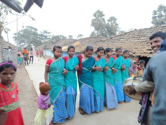 santhali Sorhai dance . Girls wearing santhali dress. ( santhal pargana - Jharkhand)