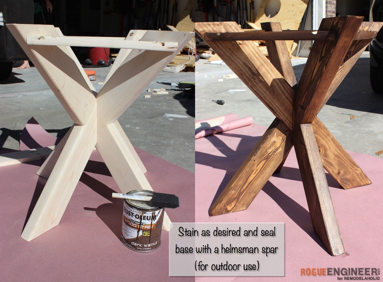 Build A Sturdy Indoor Or Outdoor Concrete Side Table, With A Wooden X Brace  Base And An Easy Concrete Circular Top.