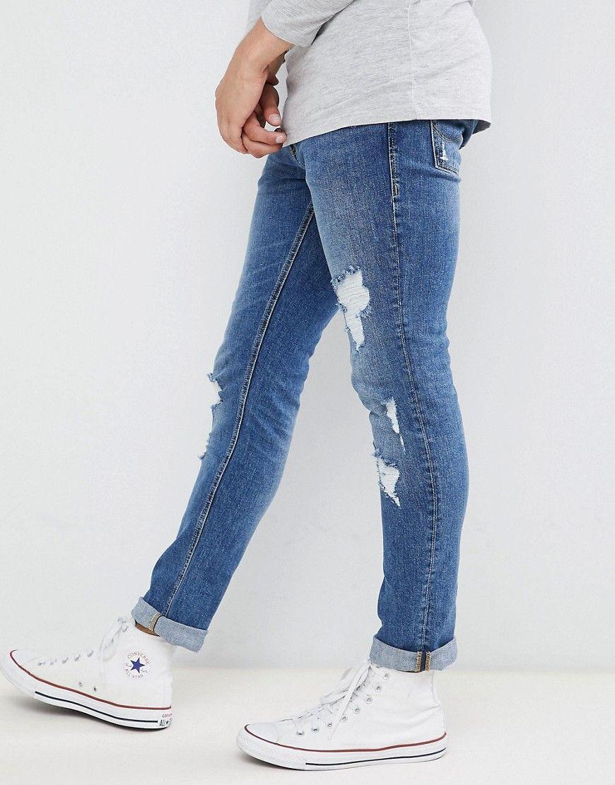 0a299f03cb4a Jack   Jones - Schmal geschnittene Jeans im Used-Look - Blau Jetzt  bestellen unter