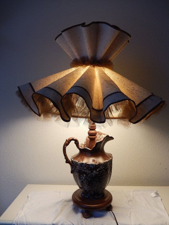 Large ceramic pitcher lamp vintage with big ruffled shade brown large ceramic pitcher lamp vintage with big ruffled shade brown speckled light 1960s end table lamp retro home lighting mid century decor aloadofball Gallery