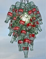 upcycled coke bottles to light fixture...not my style but surely creative!
