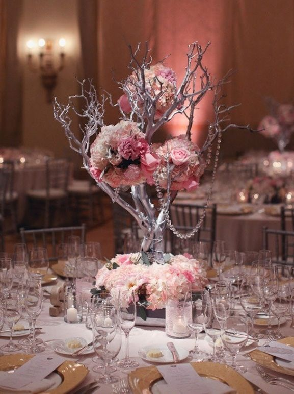 great center piece for a quince #pink#silver#tree-branches | Quince ...