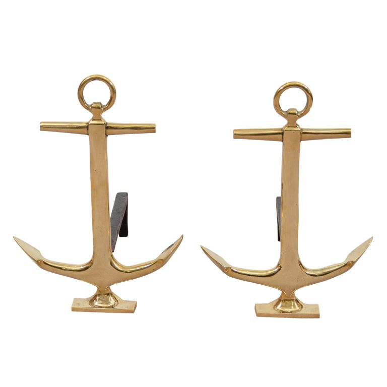 Mid Century Brass Anchor Andirons for the fireplace in your beach home, naturally.