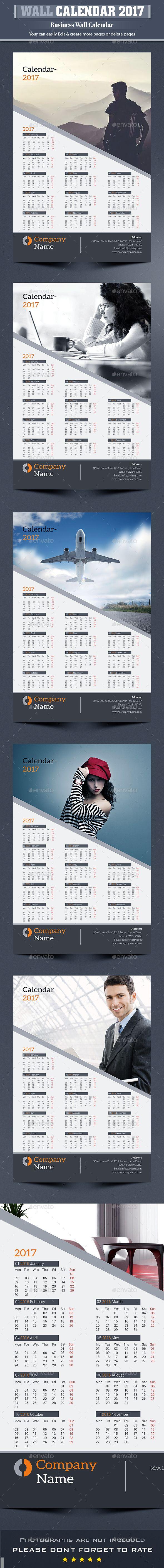 Wall Calendar 2017 Template InDesign INDD | Calendar Templates ...