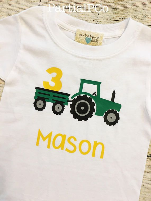 b16a3e84b Tractor Birthday Shirt Choose number & Red or Green Tractor, Farm party,  tractor and wagon, 1st, 2nd, 3rd, 4th, or 5th birthday, personalized