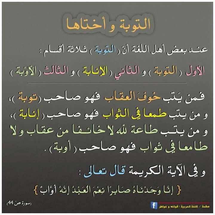 بين التوبة والأوبة والإنابة فروق جوهرية في اللغة العربية Words Beautiful Arabic Words Words Quotes