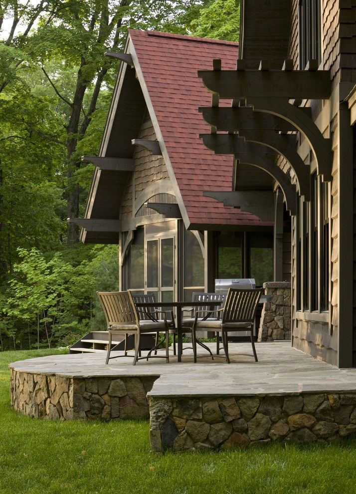 stone front house skirting idea for rustic cabin's patio and