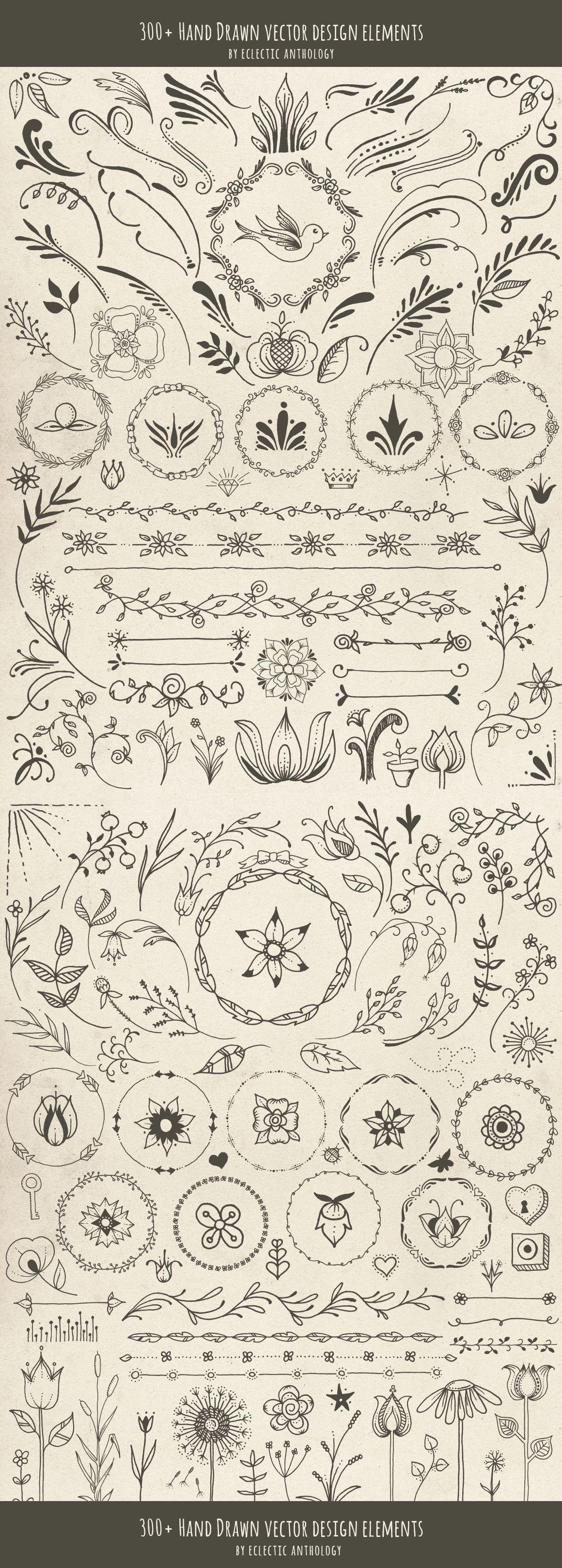 Hand drawn vector design elements каллиграфия pinterest design