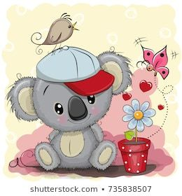Greeting Card Cute Cartoon Koala With Flower Con Imagenes
