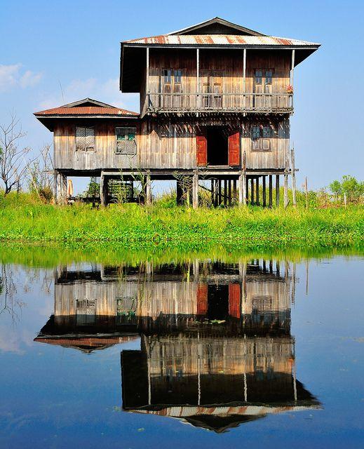 Buildings built on stilts in Inle Lake, Myanmar