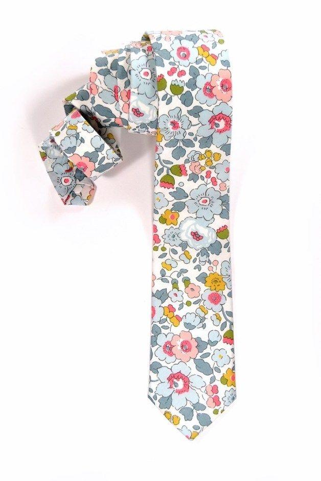 Corbatas - corbata de flores gris rosa azul y amarillo - hecho a ...