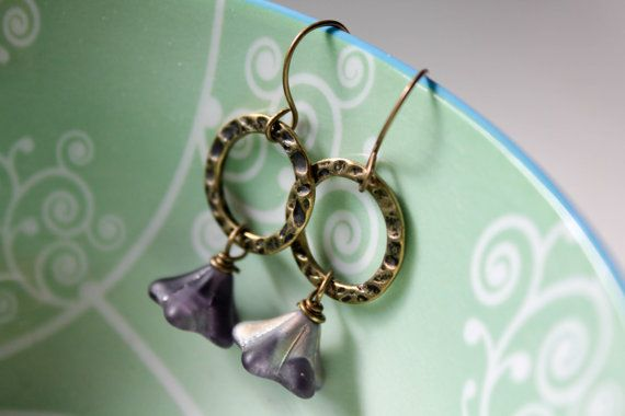 Frosted Glass Flower earrings  Textured antique gold by adairya2, $12.00