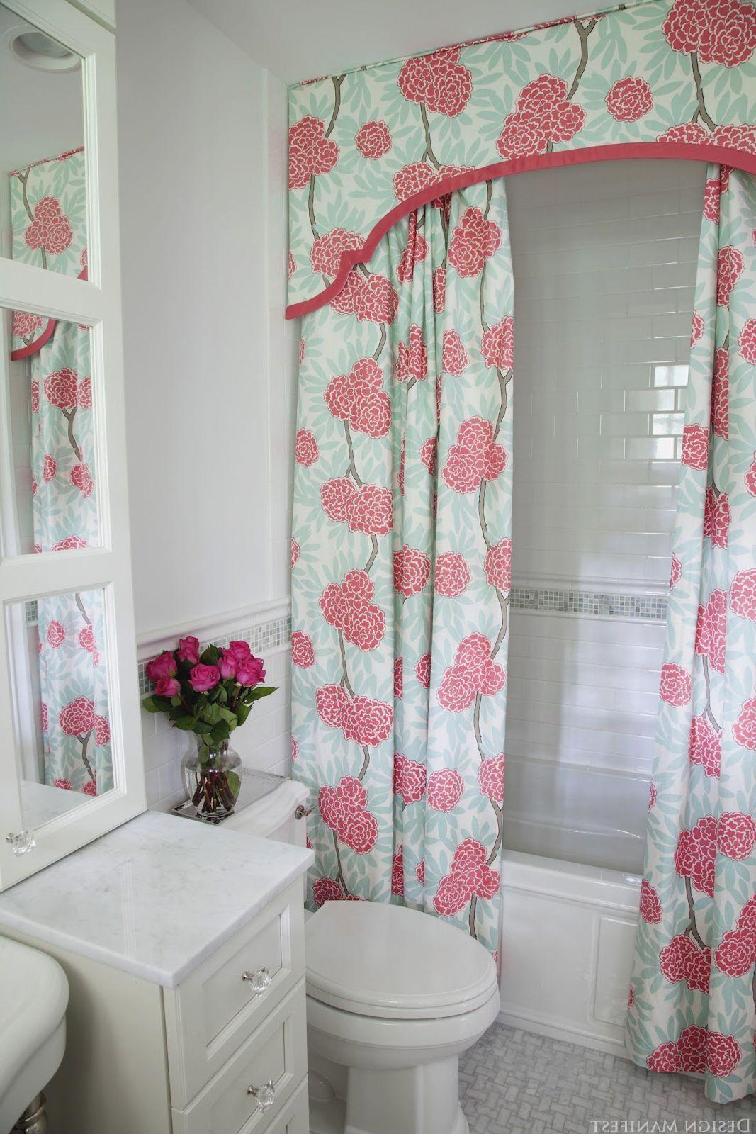 Pink Tile Bathroom Decorating Ideas Modern Home Design Pink Bathroom Tiles Girly Bathroom Hanging Curtains