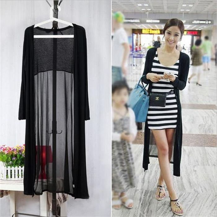 Sexy NEW See Through Long Maxi Cardigan Coat Jacket Boho Long ...