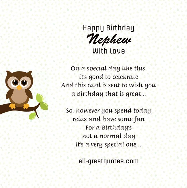 Nephew Birthday Quotes Quotesgram Birthday Family Pinterest