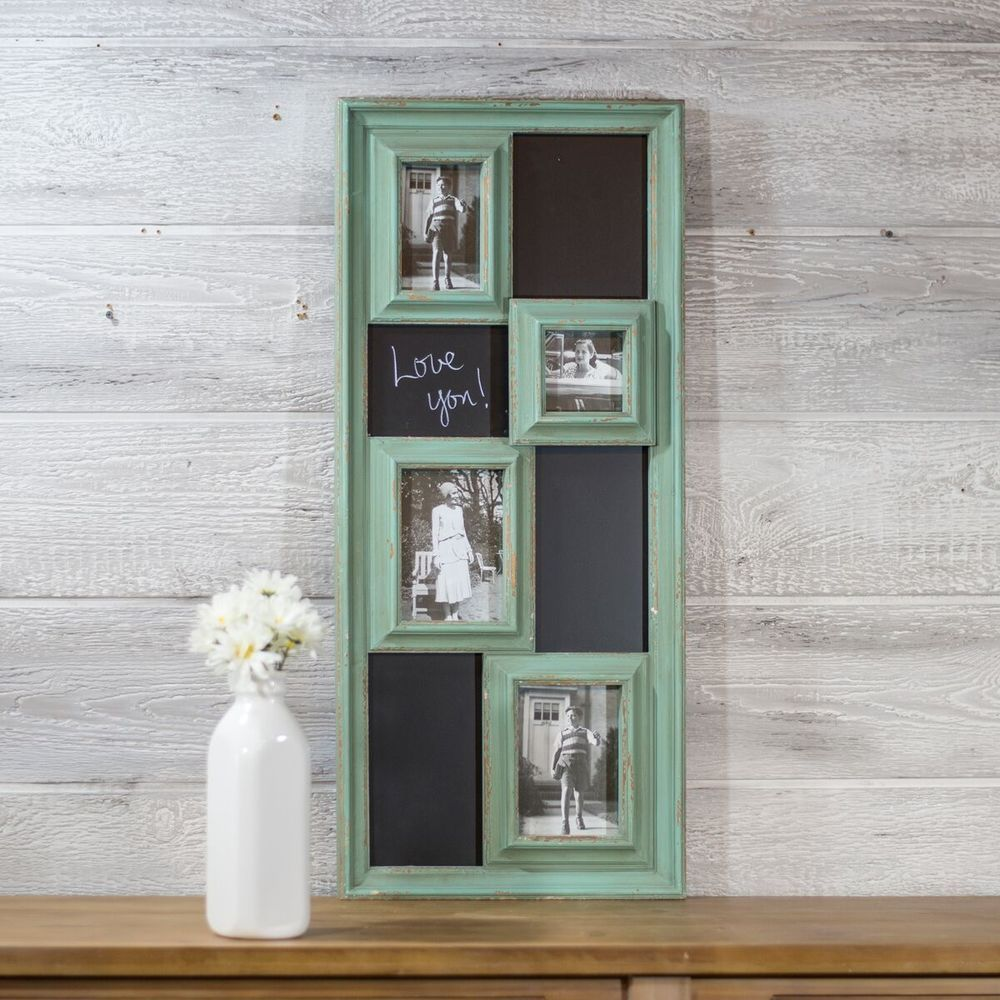 Distressed Turquoise Blue Wooden Chalkboard / Picture Frame ...