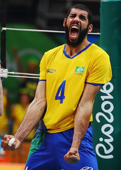 Wallace De Souza Of Brazil Reacts During The Men S Gold Medal Match Between Brazil Volleyball Team Indoor Volleyball Volleyball Team