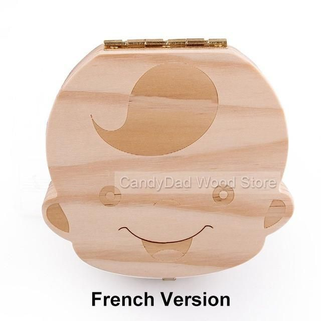 French Version 3-7 Years Baby Tooth Box Save Milk Teeth Fetal Hair Storage Box Gift For Children Wooden Tooth Box