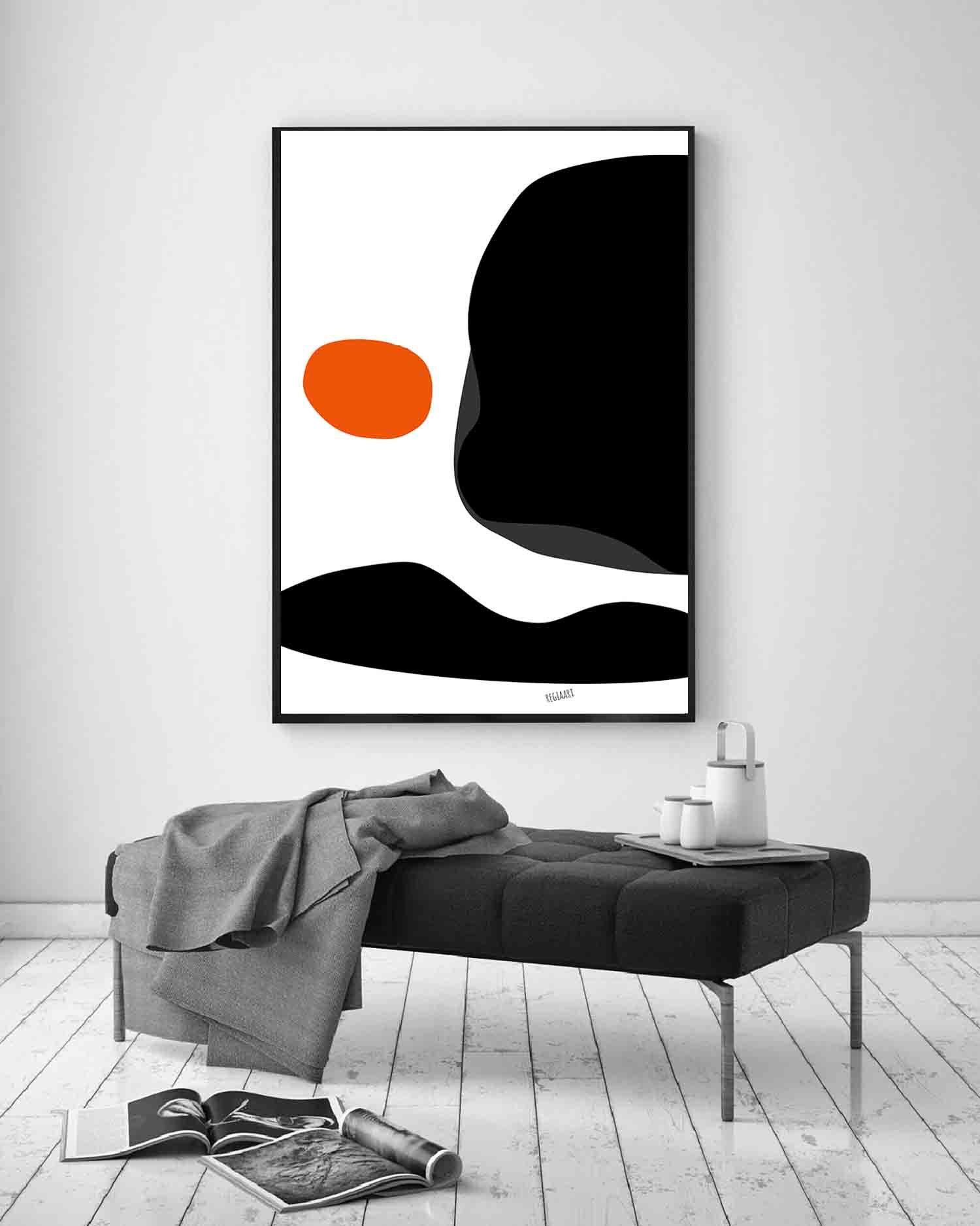 Printable Art Mid Century Modern Wall Art Orange Black Etsy In 2021 Large Art Prints Modern Wall Art Modern Art Prints