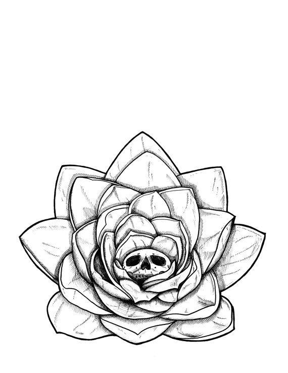 Meditate Destroy Zen Yogi Lotus Skull Flower Black And White