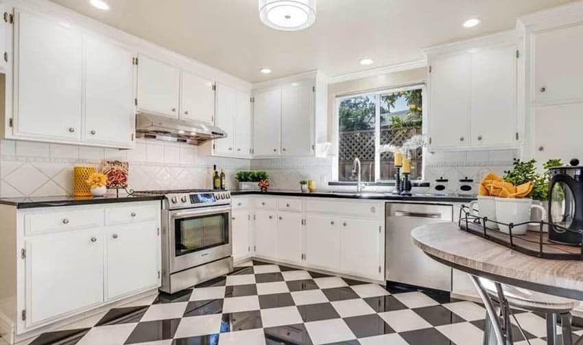 checkered floor kitchen