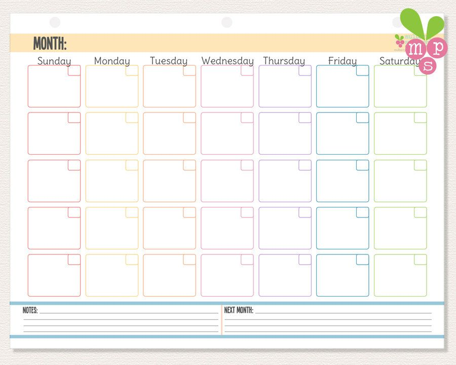 Instant Download Monthly Calendar Hole Punch Template Perfect
