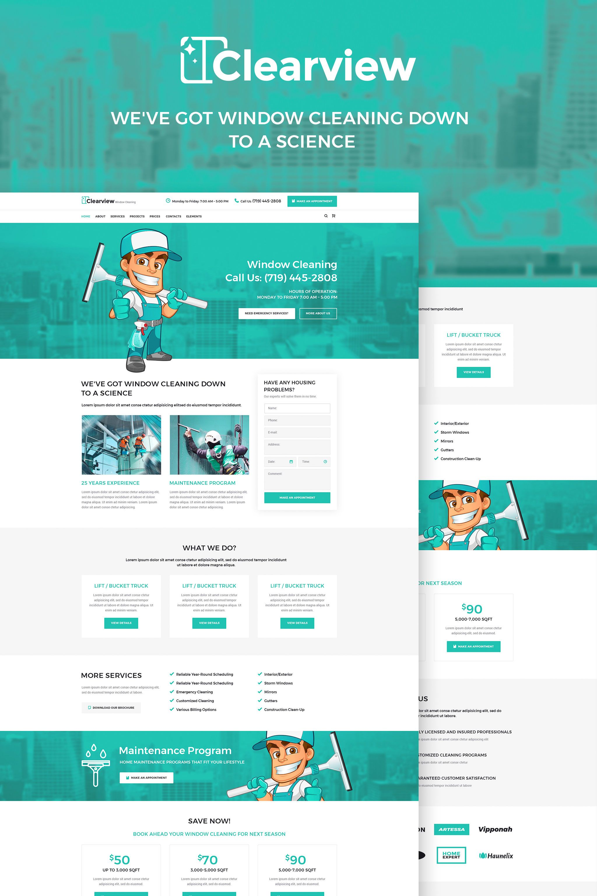 Clearview Window Cleaning Services Wordpress Theme Wordpress