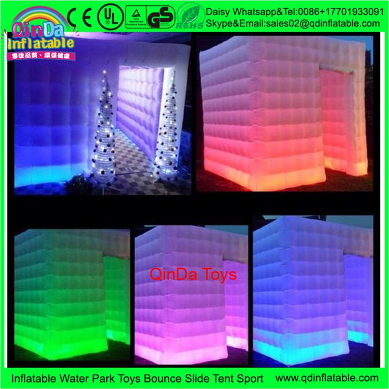 Photo Booth Wedding Inflatable Photo Booth Tent Camping Cube Tent With Colorful Led Tube Lights Ins Inflatable Photo Booth Portable Photo Booth Led Tube Light