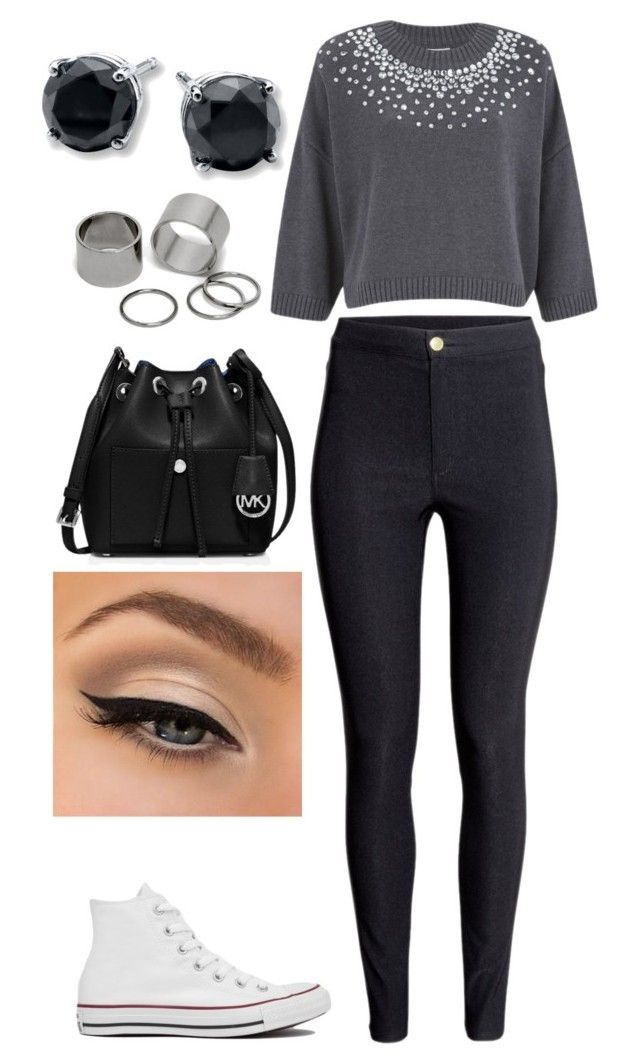 """""""Untitled #177"""" by rhay-q ❤ liked on Polyvore featuring MICHAEL Michael Kors, Converse, H&M, NYX and Pieces"""