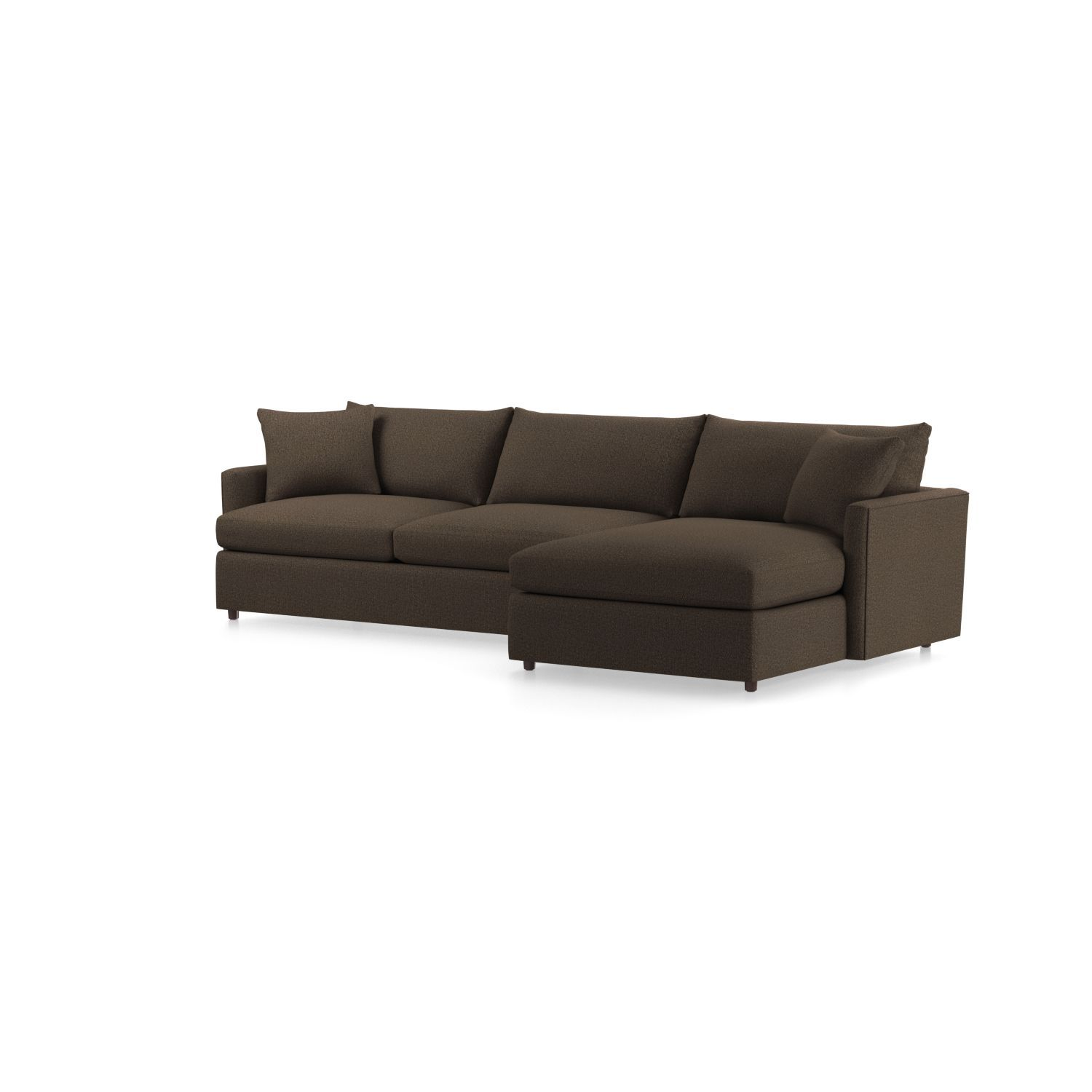 Shop lounge ii shallow sectional sofa a slim modern track arm lightens the look and provides maximum sitting space this petite sectional sofa comprising