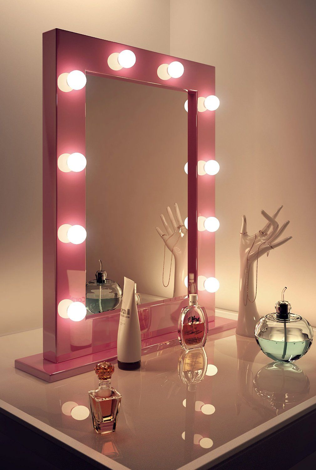 Bathroom Mirror Lights Amazon pink hollywood make up theatre dressing room mirror k153: amazon