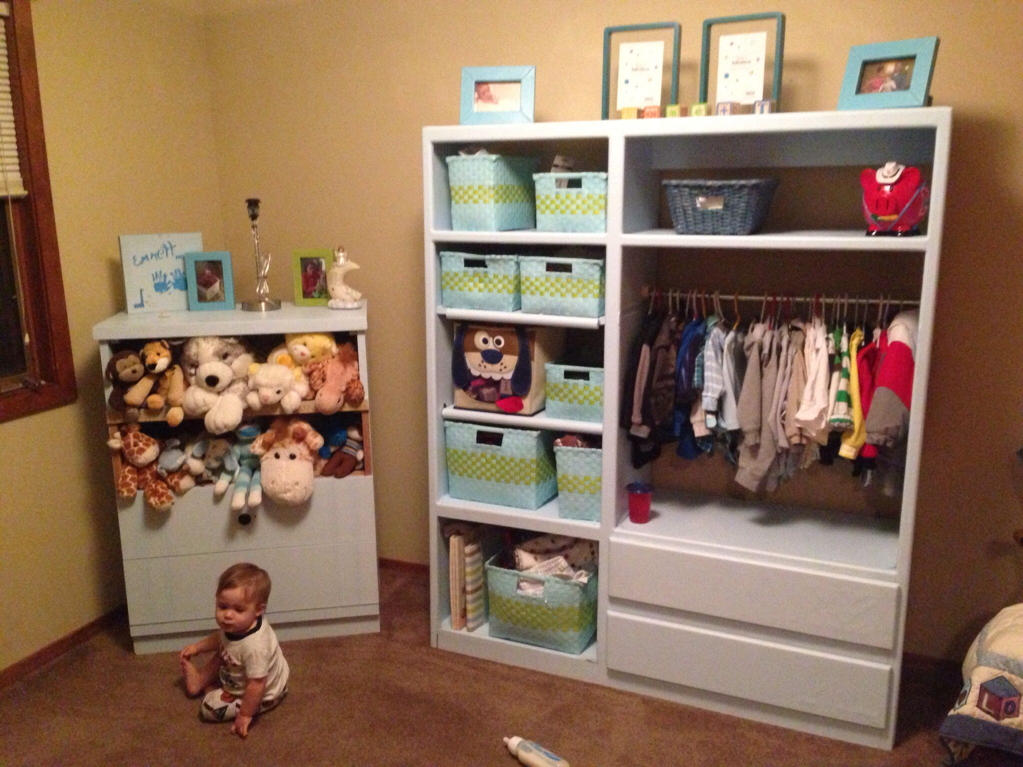My Entertainment Center Turned Baby Closet/storage :) Love The Shelf Space.