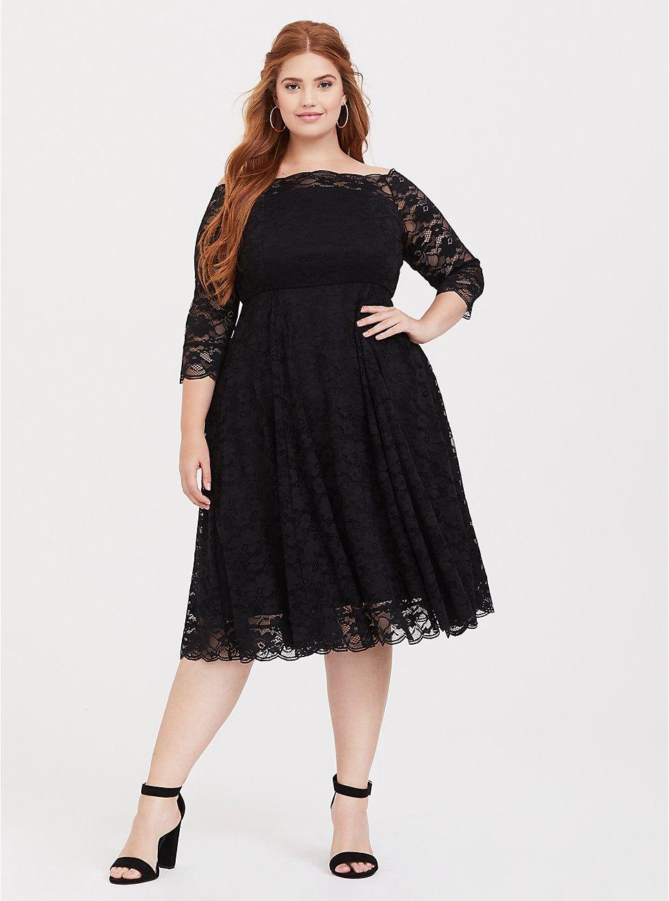 Special Occasion Black Lace Off Shoulder Skater Dress   Plus ...