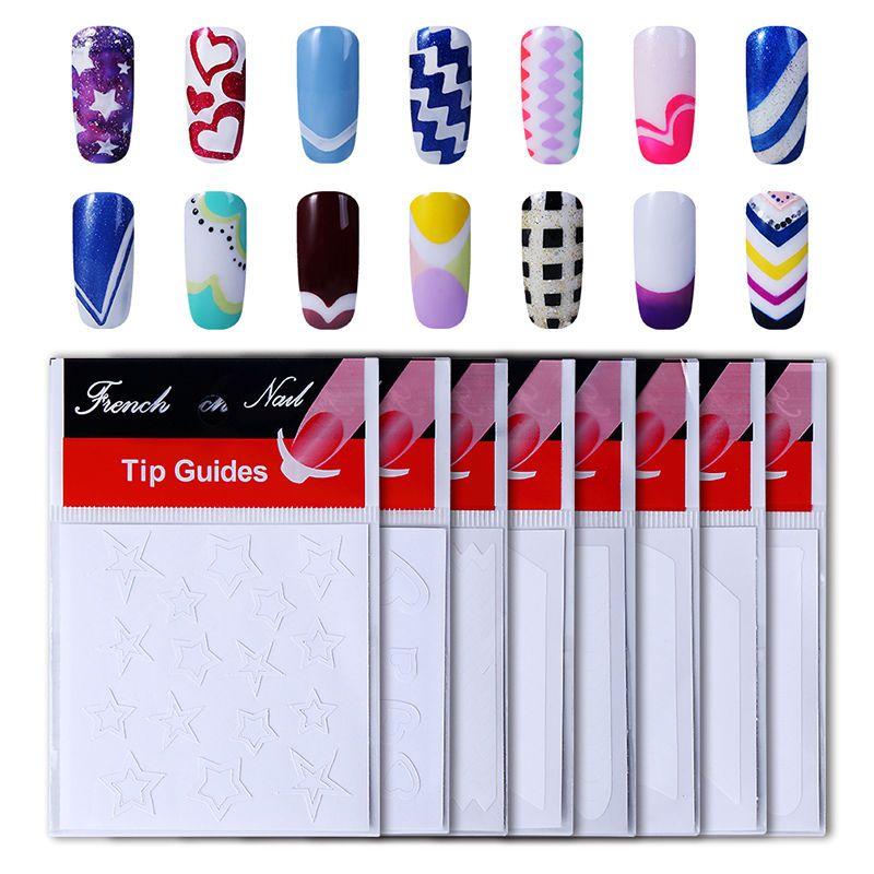 HNM 1pack French Nail Tips Sticker Nail Art DIY Stickers UV Gel Nail ...