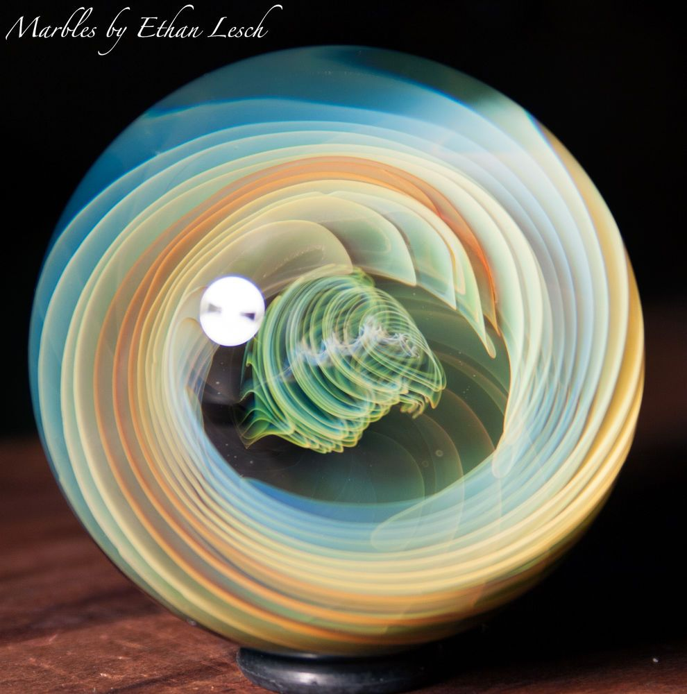 "1.60"" HANDMADE MARBLE SIGNED BY ~ETHAN LESCH~ BOROSILICATE, BORO, ART, MIB #Glass"