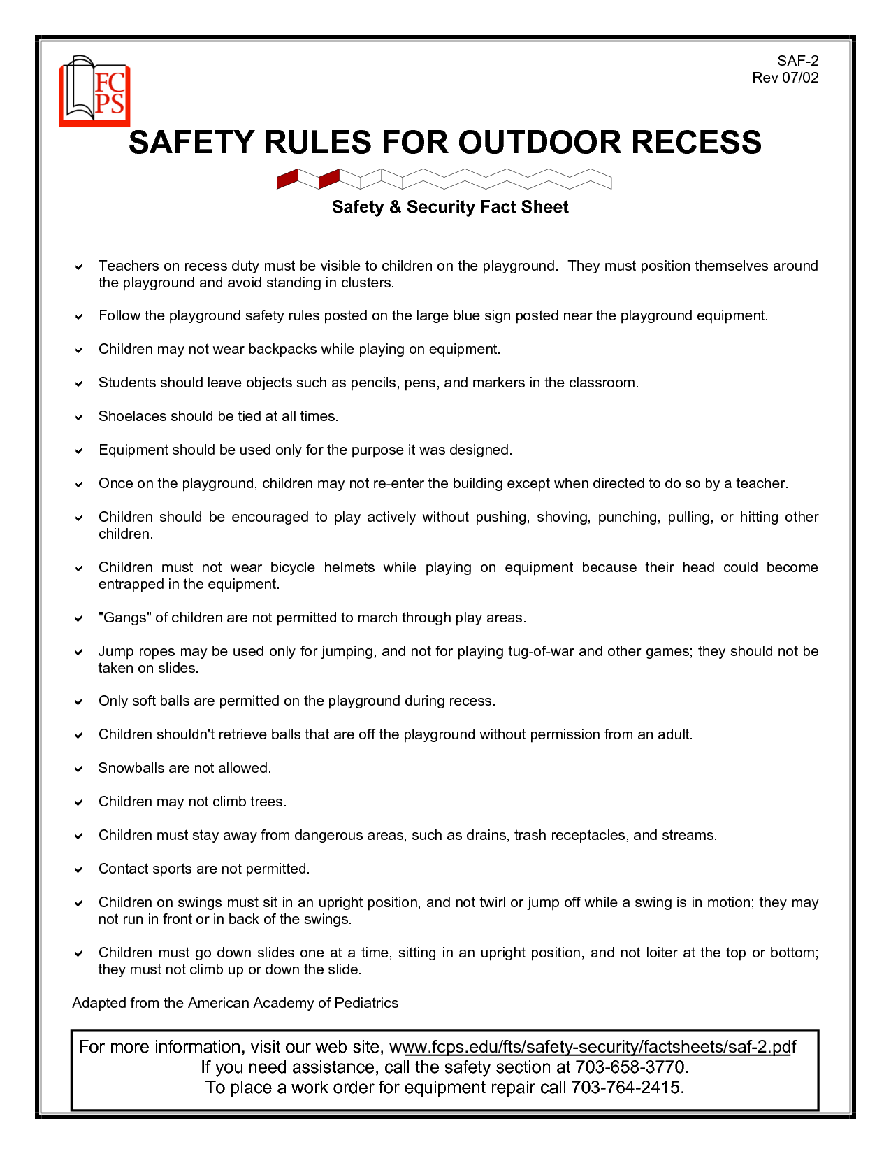 Outdoor Safety For Preschoolers Safety Rules For Outdoor Recess Places To Visit Pinterest