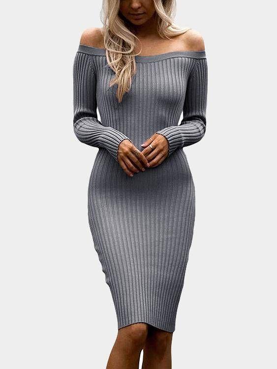 Grey Sexy Off Shoulder Midi Bodycon Dress   Stuff to Buy   Pinterest   Bodycon  dress, Shoulder and Gray