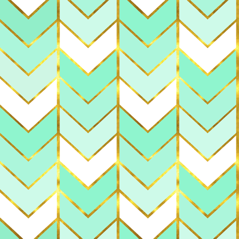 Gilded Ombre Herringbone In Mint Fabric By Sparrowsong On