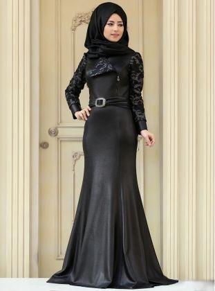 Elena Evening Dress - Black - Silver - Zehrace | Muslimah Fashion ...