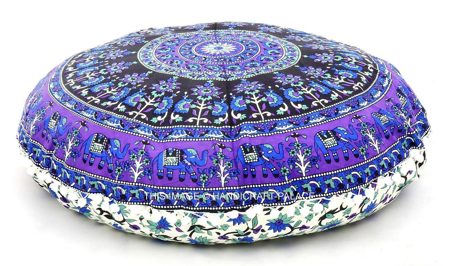 Indian Elephant Mandala Huge Meditation Round Floor Cushion Cover Pillow Sham   Cushions   Home Decor